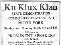 "The North York convention did not come to the county by accident. York was a hotbed of Klan activity in the 1920s and home to a ""great titan,"" a state leader in the Ku Klux Klan movement. Early in the decade, York counted the sixth-largest KKK lodge in the state with 1,518 members. Neither Allegheny nor Philadelphia counties listed klaverns of York County's size. Churches often played host to Klan activities. About 100 Klanswomen attended Sunday evening services at a Dallastown church in 1926. The women assembled in the west end of town and marched to the church attired in hoods and gowns. A Dover-area church, constructed in 1927, still displays a stained glass window donated by the KKK."