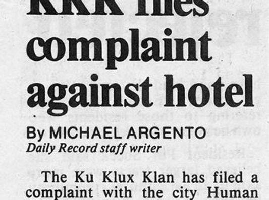 The Yorktowne Hotel found itself a target of Klan animus when it refused to allow the state convention there in the 1980s.  The Klan lodged a complaint with the city Human Relations Commission.