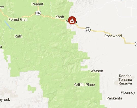 Cal Fire reports firefighters are battling a 50-acre fire off Highway 36 west around Beegum Gorge road near Platina.