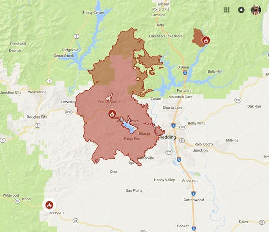 Cal Fire Map Aug 19 2018