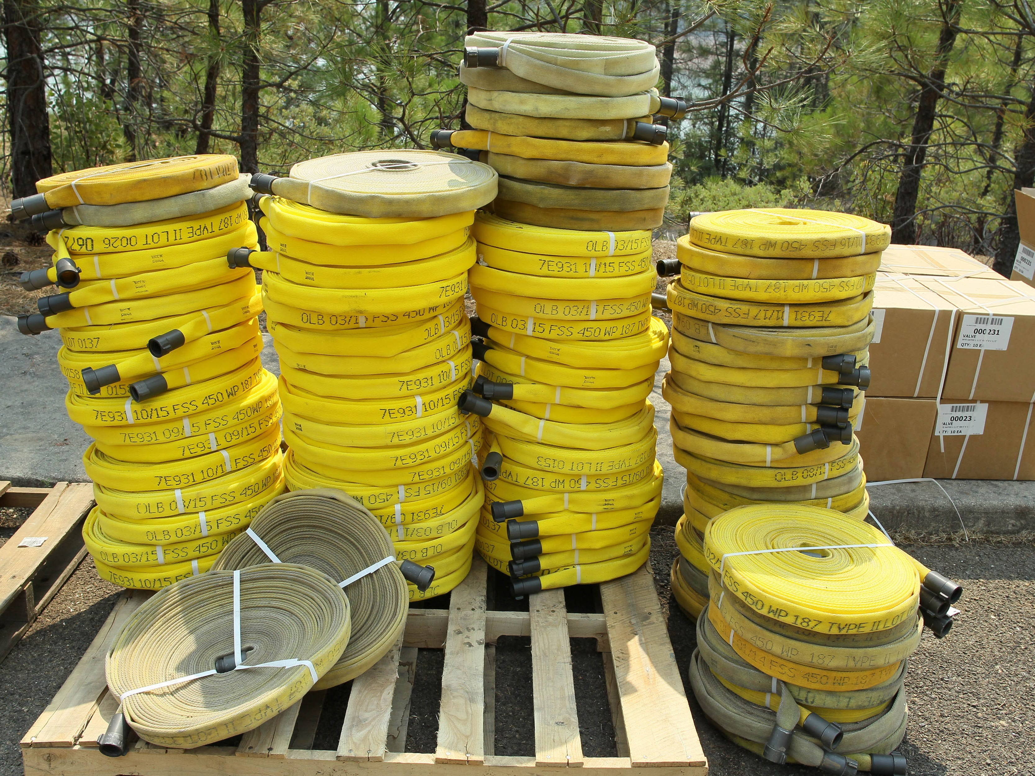 Water hoses are stacked up Saturday, Aug. 18, 2018 at Hirz Bay for the crews working the Hirz Fire. (Special to the Record Searchlight/Hung T. Vu)