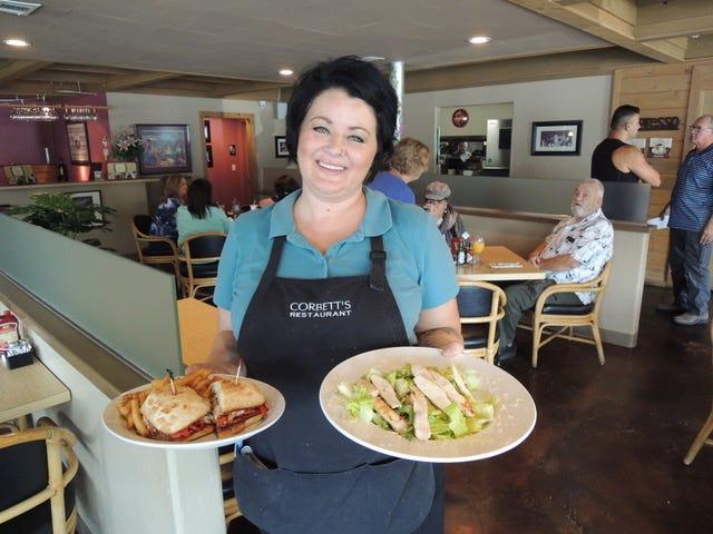 Dana Laughlin serves a lunch order at Corbett's Restaurant on Pine Street in downtown Redding.