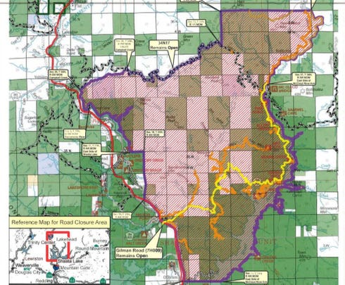 Hirz Fire forces closure of portion of Shasta-Trinity National Forest