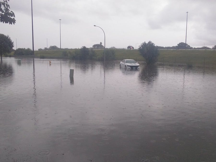 Car stalled on 49th Street in southwestern Sioux Falls.
