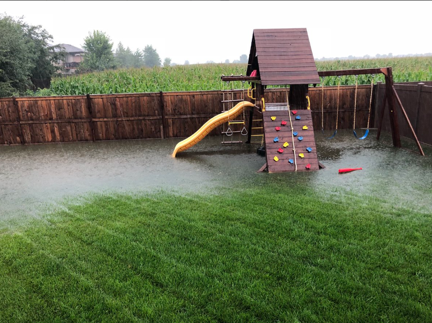 Flooding in a Sioux Falls backyard.