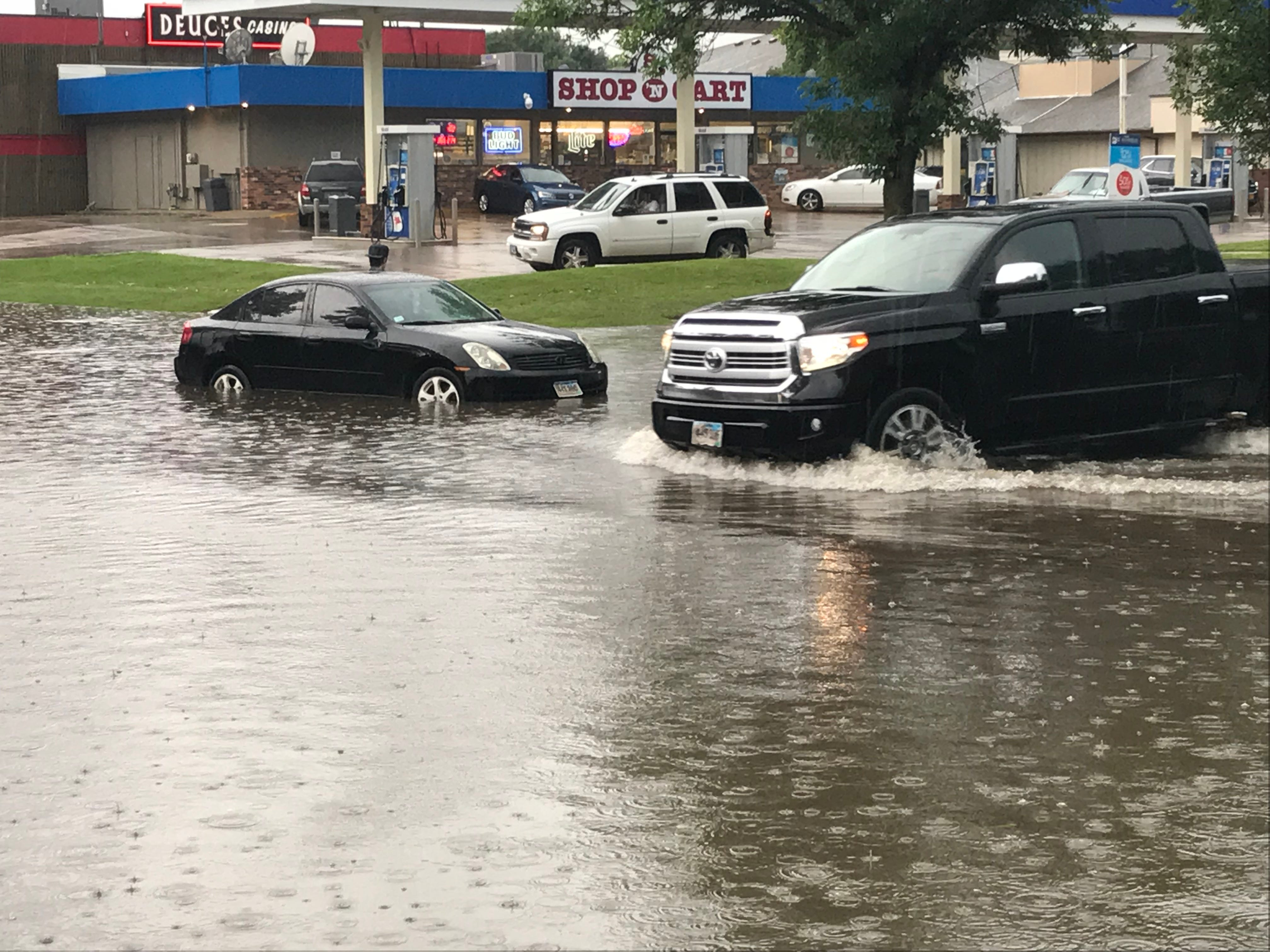 Flooding in Sioux Falls near 49th and Louise on Sunday.