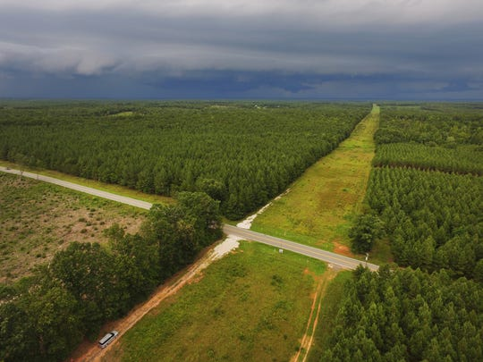 The Transco Pipeline cuts through the forests of Buckingham County and crosses Route 56 in the foreground. The Atlantic Coast Pipeline, will pass through Buckingham County and connect to this pipeline, and a compressor station will be built at the intersection.