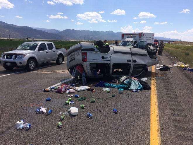A Chevrolet Venture rolled on Interstate 15 after crashing into a Toyota Camry on Aug. 18, 2018. An 8-year-old boy from Enoch was killed.