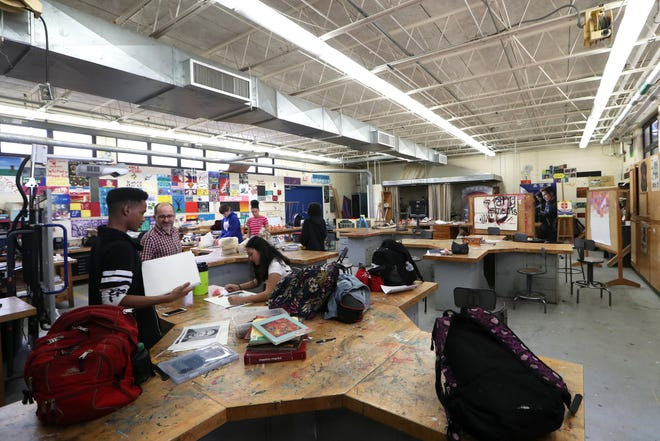 Students work in an art class at Rickards, within one of the five buildings that is set to be demolished. Rickards was recently approved for the new buildings, replacing structures which were originally constructed between 1961-75.