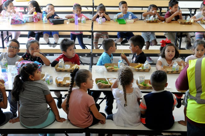 Students are seen eating lunch in this file photo taken at Driffill School. The Oxnard School District is looking to fill a vacancy on the school board.