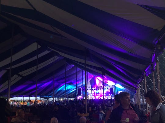 Blues fans gather under the main tent at Big Bull Falls Blues Fest on Aug. 18, 2018.