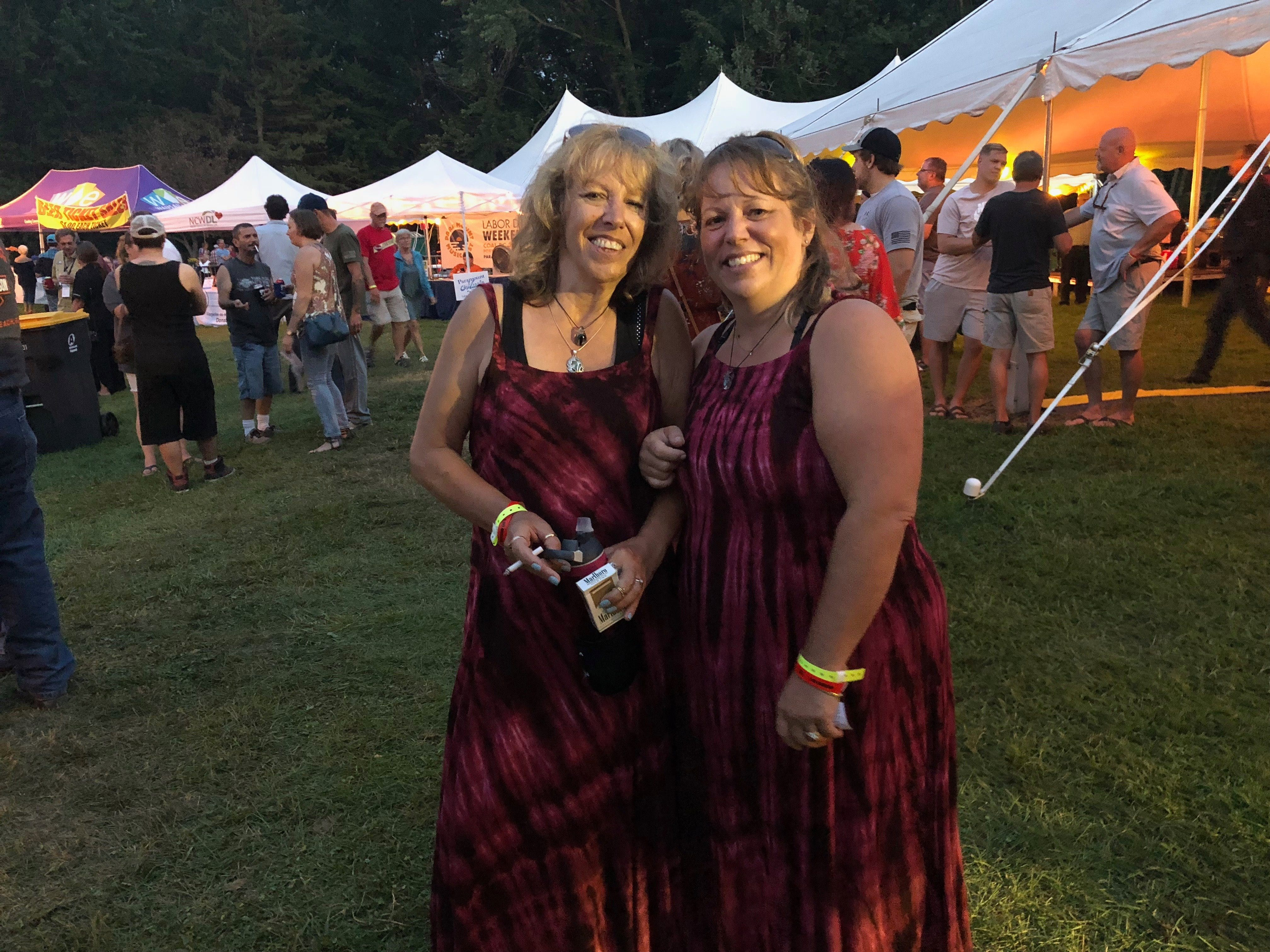 "Dawn Francis of Kaukauna and Dyan Rait of Red Granite show off their matching ""costumes"" at Big Bull Falls Blues Fest on Aug. 18, 2018."