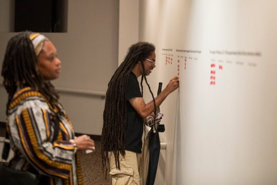 Attendees of Unbroken Spirit place stickers during the interactive portion of the performance by local artist TAHIRA and local singer/songwriter Jae Street Jr. Sunday at the Delaware Art Museum. The performance focuses on the occupation of Wilmington by the U.S. National Guard in 1968.