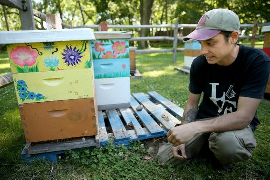 In a June 15, 2018 photo, beekeeper Sam Torres checks on his apiary at Glen Foerd in Philadelphia. Torres, 27, sells his honey and provides beekeeping consulting services under the name Keystone Colonies. He is part of a growing group in the Philadelphia beekeeping community: millennials.