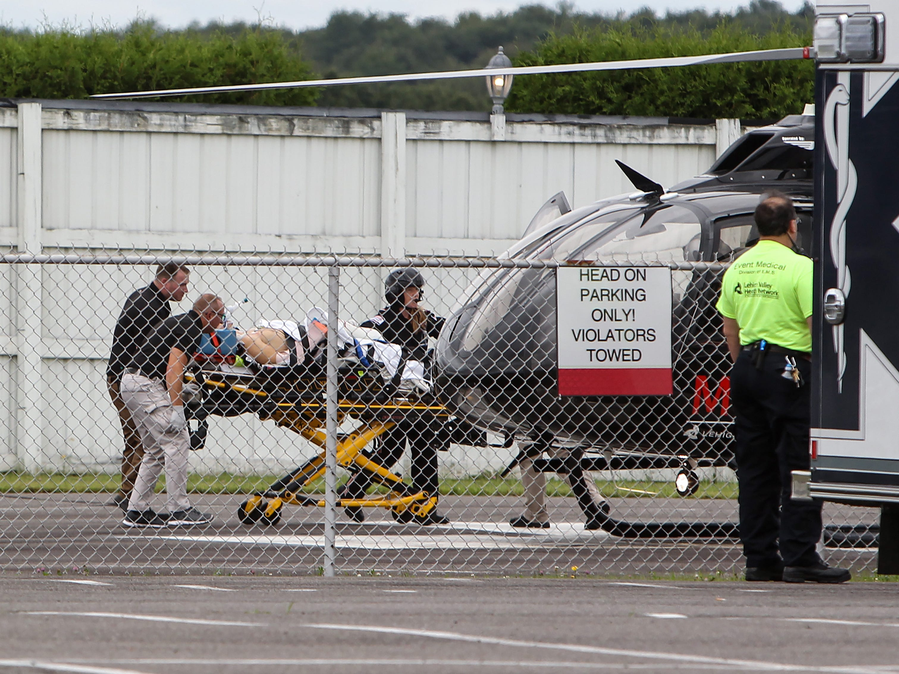 Robert Wickens is loaded onto a helicopter for transport to Lehigh Valley Cedar Crest hospital following an accident during the ABC Supply 500 Sunday at Pocono Raceway.