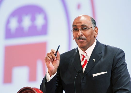Republican National Committee  Chairman Michael Steele makes his remarks during a Republican National Committee Winter Meeting in Oxon Hill, Maryland, on Jan. 14, 2011.