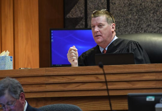 Judge Cordell Maddox speaks during a trial for Lawyer Scott at the Anderson County Courthouse in Anderson on Monday.
