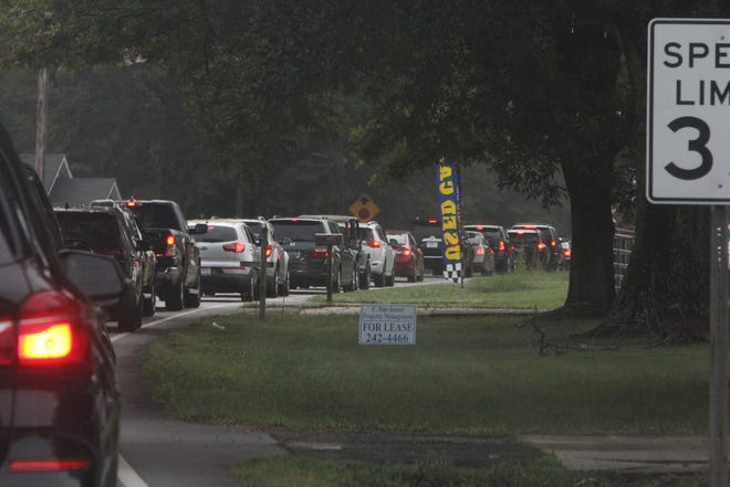 Traffic remains backed up on Three Bridges Road, south of S.C. 153, where traffic was expected to ease on the first day of school due to a new access road behind Powdersville Middle School.