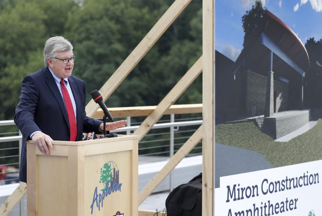 Appleton Mayor Tim Hanna speaks during the groundbreaking ceremony for the Miron Construction Amphitheater in Jones Park Monday in downtown Appleton.