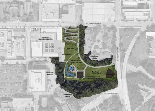 A rendering of downtown Appleton's Jones Park after construction is completed later this year.