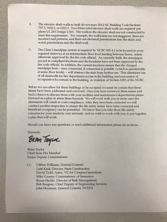 Letter from the DOI to UNCA about the dangers to students