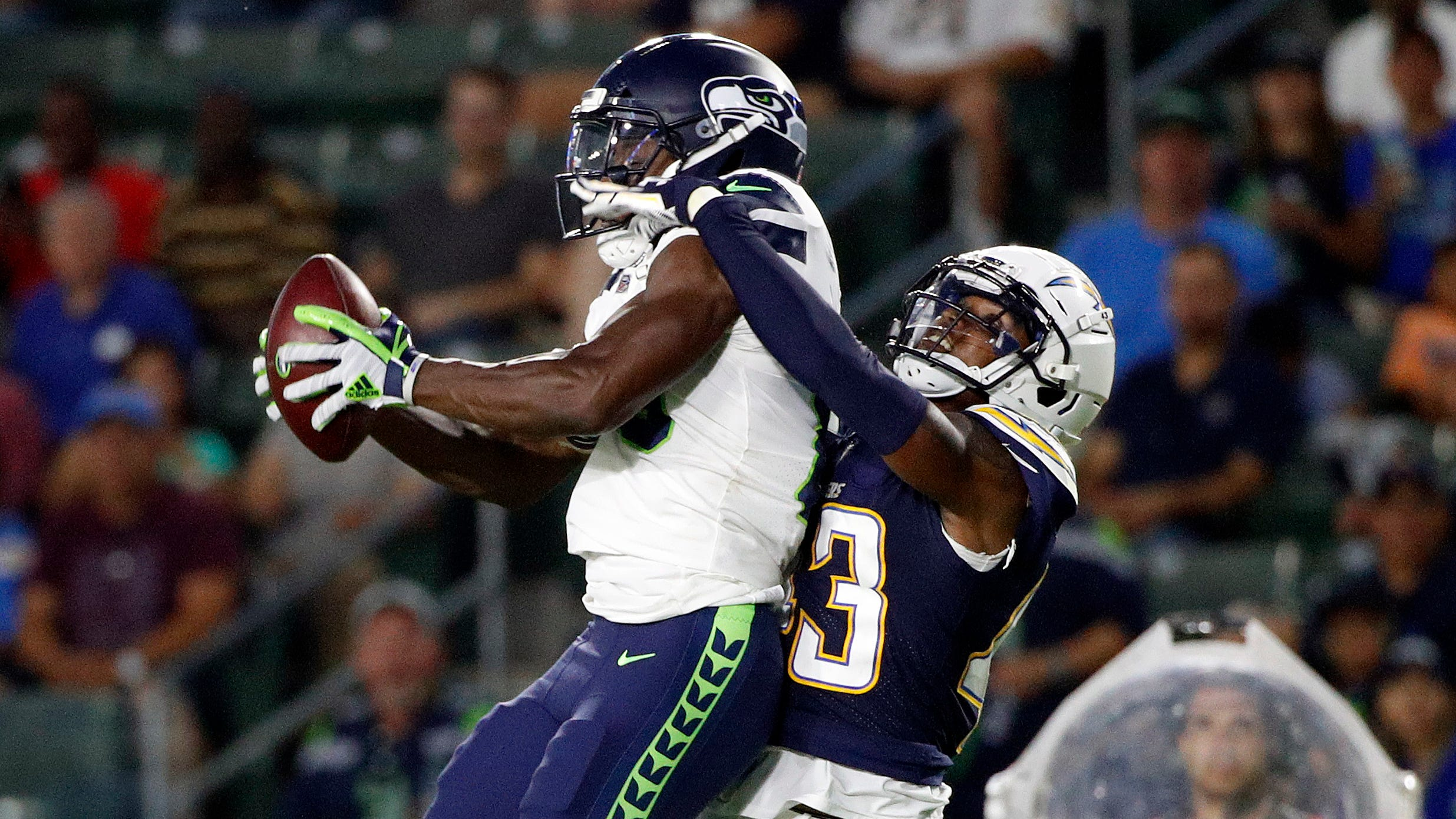 Seahawks wide receiver David Moore was impressive during Saturday's game against the Chargers, but then so was Kasen Williams last year.