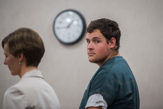Sheldon Rheaume, 23, of Essex appears in Vermont Superior Court in Burlington on Monday, Aug. 20, 2018, pleading not guilty to charges of aggravated assault with a deadly weapon, reckless endangerment and hate-motivated disorderly conduct. Authorities say he used racial slurs against a Maplefields employee early Tuesday morning before pointing a gun at her.