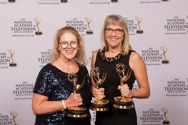 Amy Wilson and Liz Dufour with their Emmy awards at the gala.