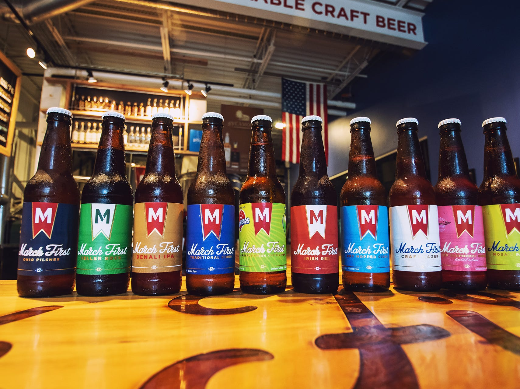 March First Brewing's bottled beer collection.