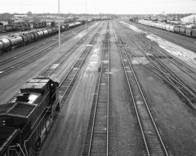 A train on railroad tracks