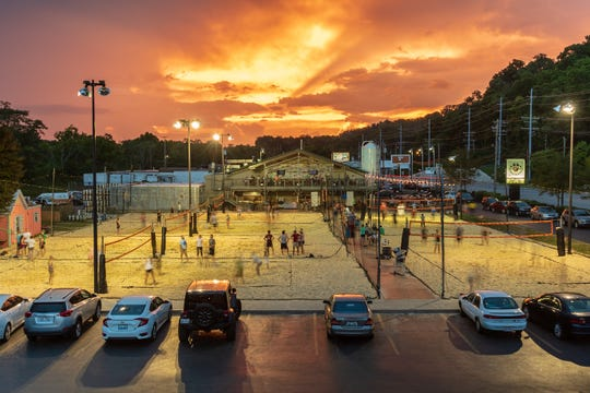 50 West Brewery volleyball court and sunset.