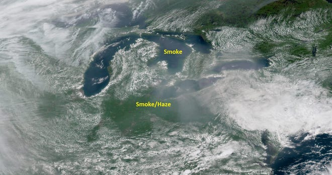 Smoke from the California wildfires blowing through Ohio and Michigan.