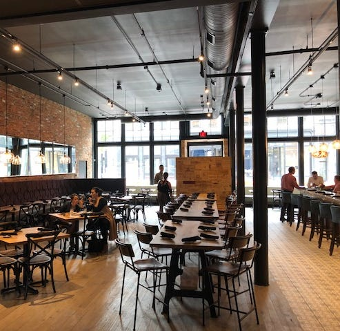 The main dining room of LouVino, 1142 Main Street in Over-the-Rhine