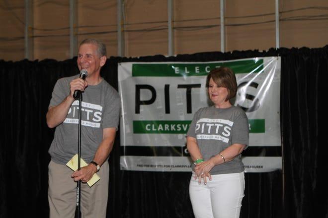 Joe and Cynthia Pitts at the Joe Pitts Mayoral Campaign kickoff at City Forum on Sunday.