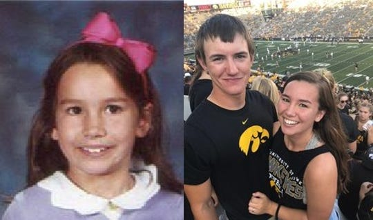 Mollie Tibbetts is seen at left in an early school photo from California, and at right with boyfriend Dalton Jack at Kinnick Stadium. Tibbetts disappeared July 18, 2018.