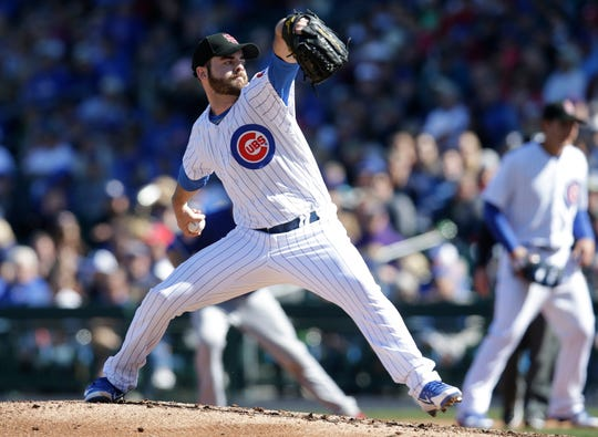 Chicago Cubs starting pitcher Cory Mazzoni (60) throws in the second inning against the Texas Rangers at Sloan Park.