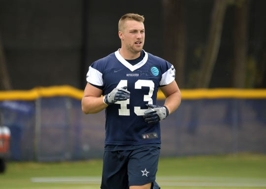 Dallas Cowboys linebacker Joel Lanning (43) during training camp at River Ridge Fields.