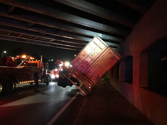 A photograph of the semi truck tipped over on I-94 on August 20, 2018.