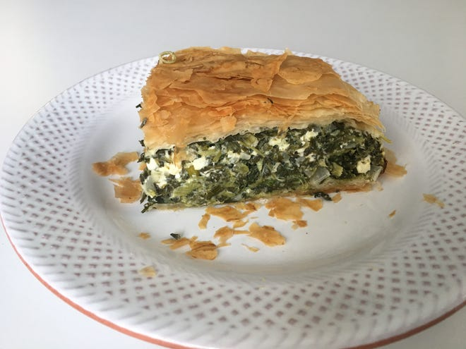 Spinach Pie is made with feta and cottage cheese.