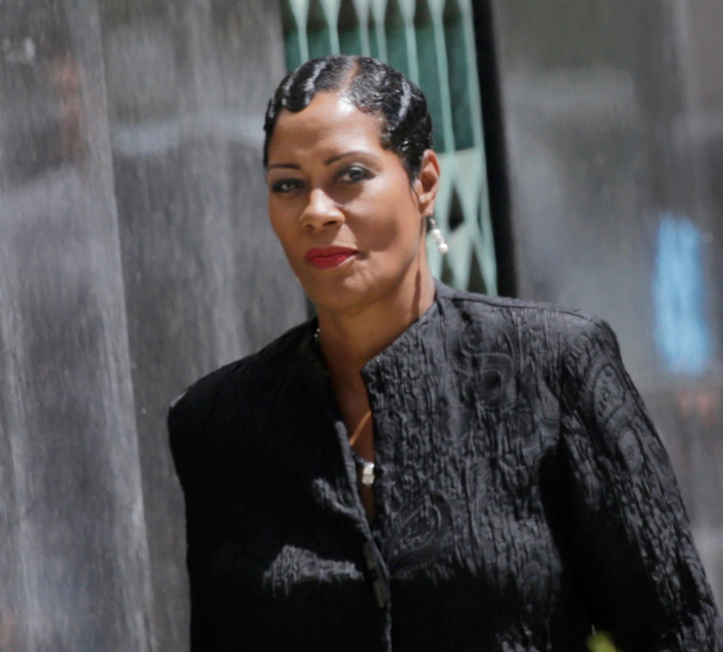 Monica Morgan walks into the federal courthouse in Detroit on Monday, July 31, 2017.