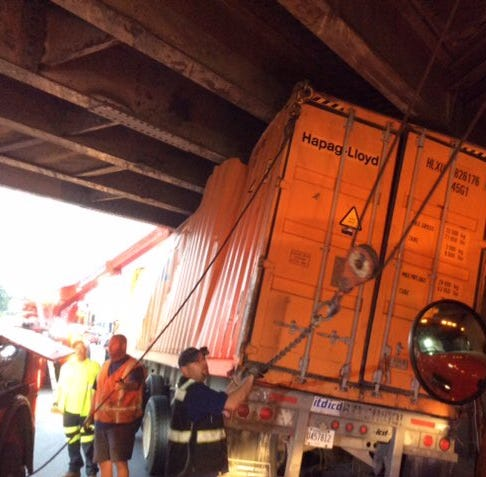 Only one lane open on westbound I-94 as semi truck tips over