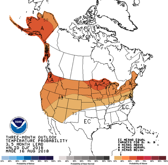The National Weather Service's outlook for temperatures in the United States in December 2018 and January and February 2019. Michigan has a 40 percent chance of experiencing above normal temperatures this winter.