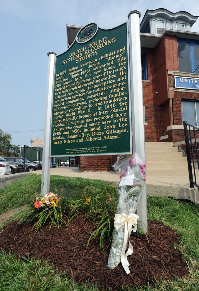 Flowers are placed outside United Sound Systems Recording Studios to honor Aretha Franklin, who recorded much of her music there.  Photo taken on Sunday, Aug. 19, 2018 in Detroit.