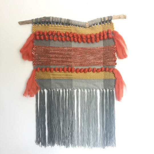 A weaving by Julia of Electric Pink. Guest artists will offer classes on dyeing, screen printing, weaving and felting.