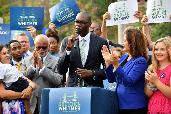 Garlin Gilchrist II takes the mike Monday in Lansing after Democratic candidate for governor Gretchen Whitmer announces he is  her running mate.