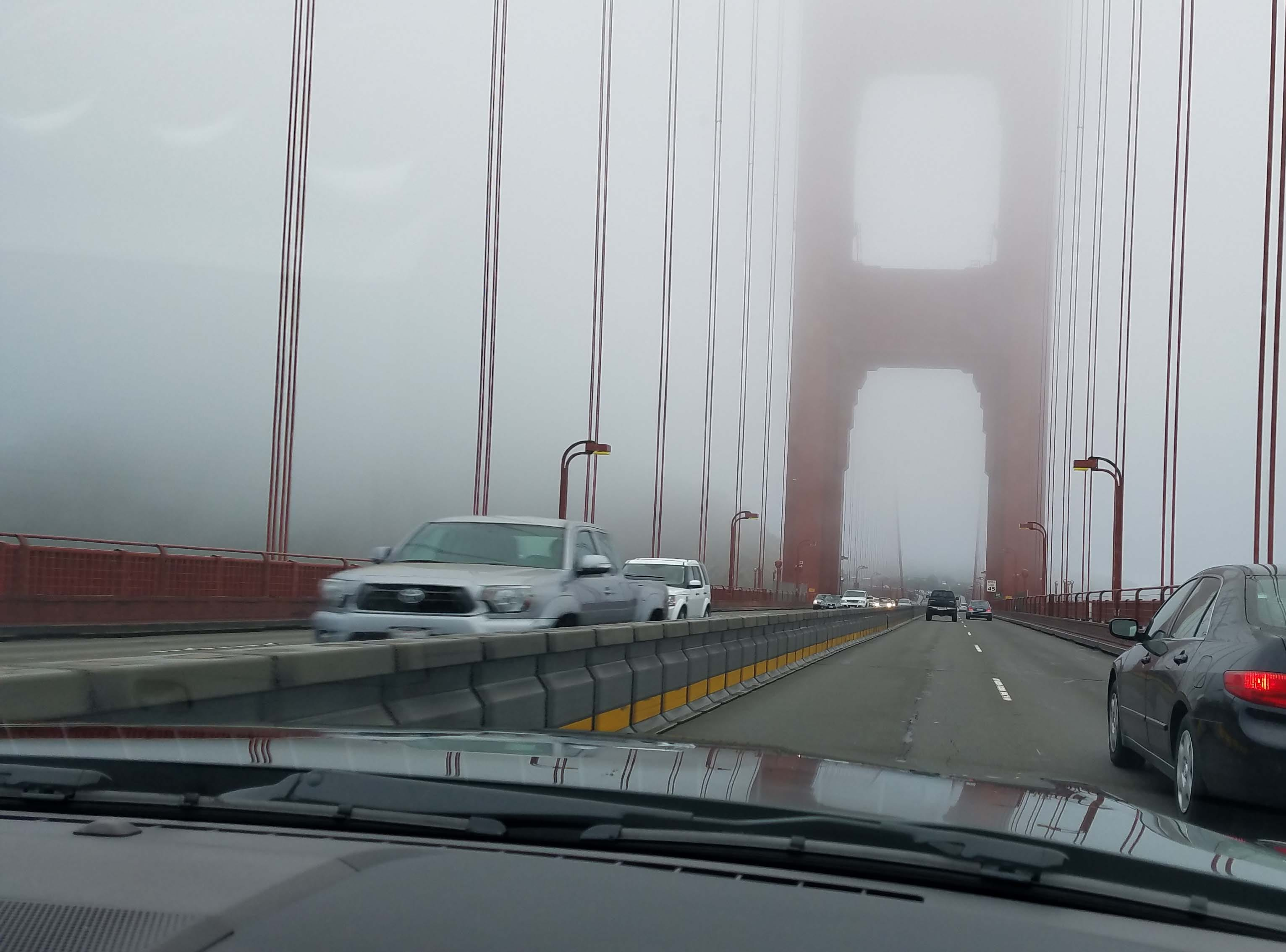 """The movie """"Bullitt"""" has planned to film on the San Francisco Bay Bridge — but the studio couldn't get a permit. Here, a 2019 Ford Mustang Bullitt makes the crossing in the early morning."""