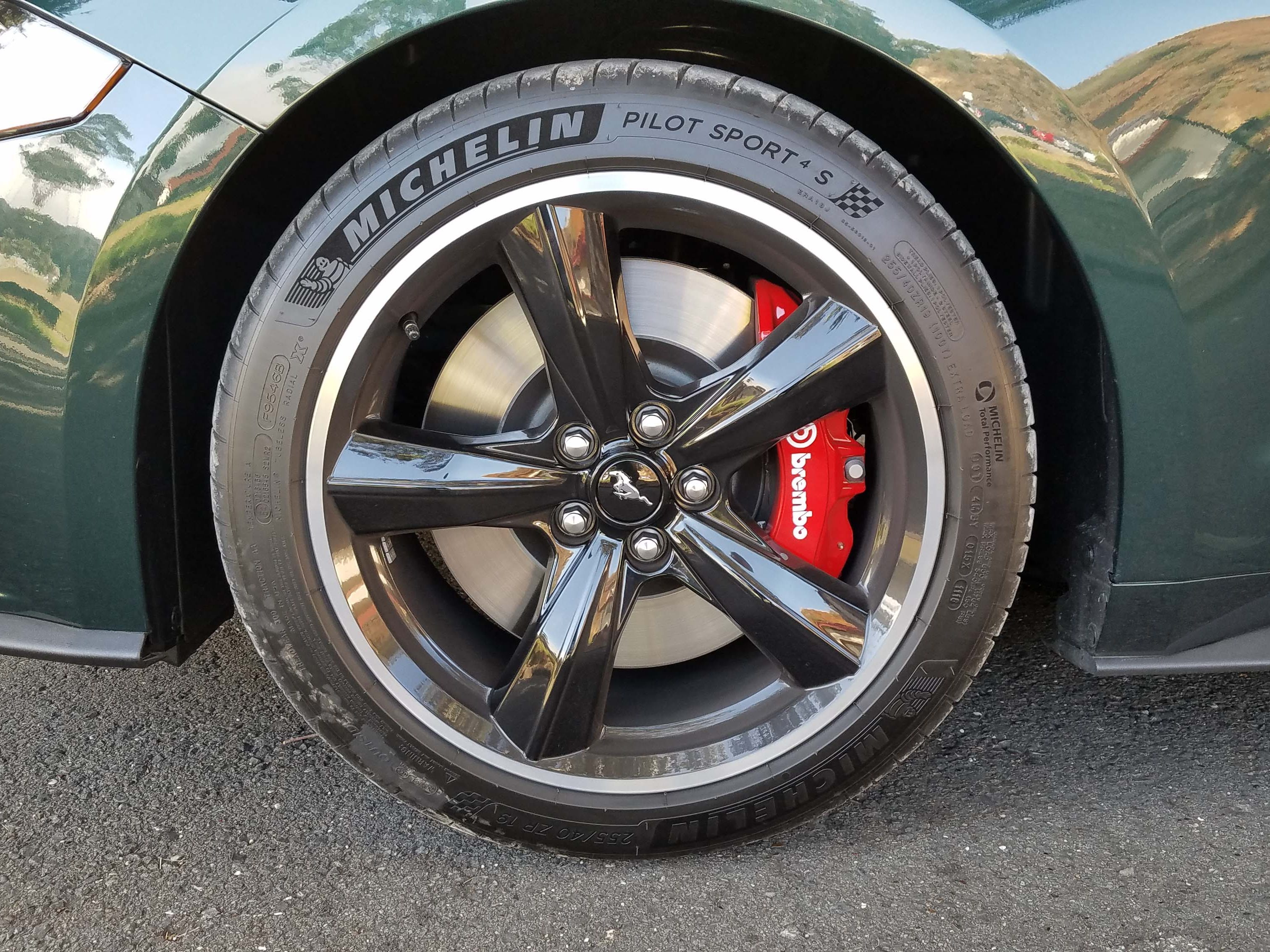 The Michelin Pilot Sport 4S tires found on the 2019 Ford Mustang Bullitt are not the stickiest available for a Mustang, but they are complemented by excellent Brembo brakes and the signature, 19-inch, black Bullitt wheels.