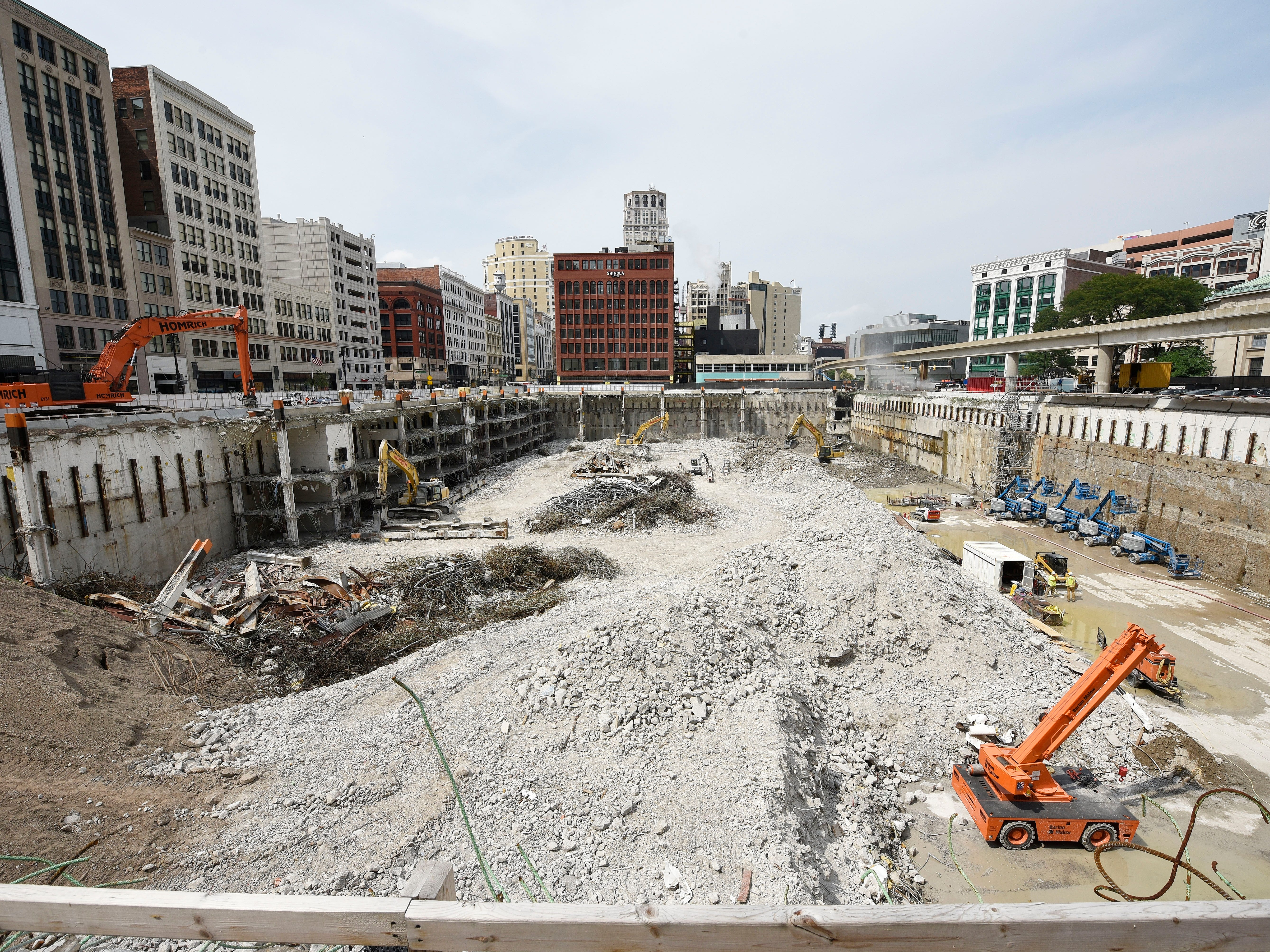 Work continues at the former Hudson's department store site on Woodward and Gratiot, where the tallest building in Detroit will be built.