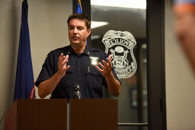 Westland police Chief Jeff Jedrusik on Monday discusses officers using a stun gun on a man being arrested and holding a baby.