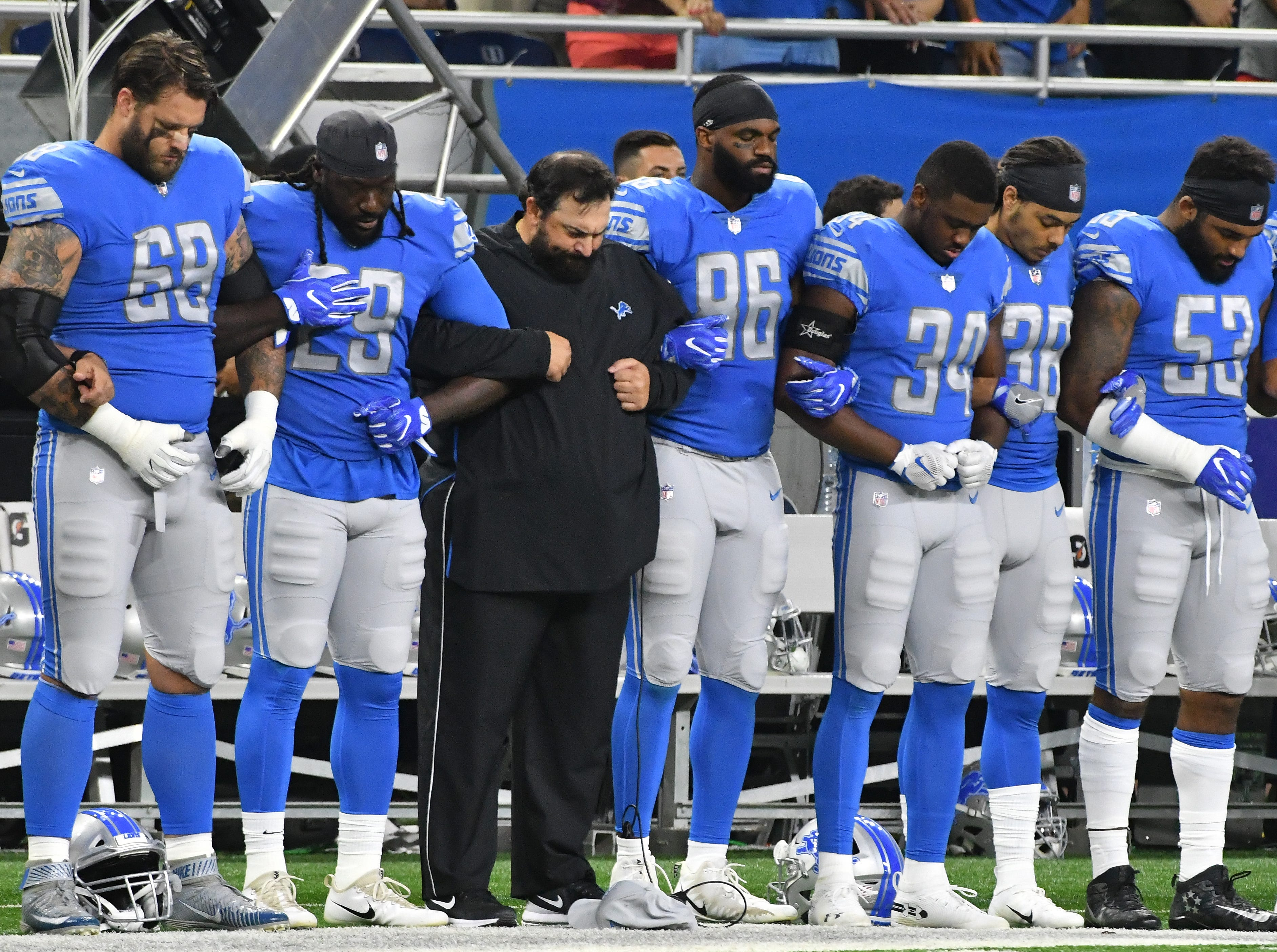 Lions head coach Matt Patricia during the national anthem before the game.